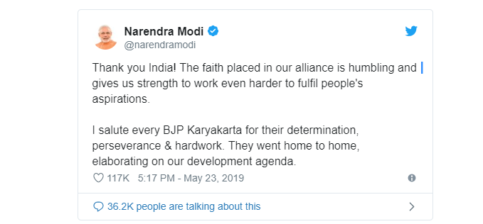 narendra modi tweet on victory